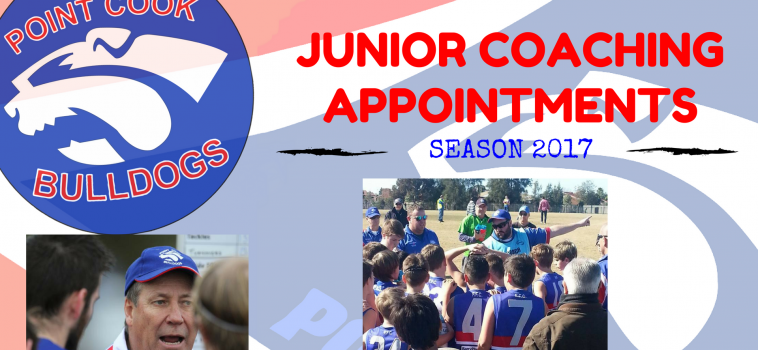 JUNIOR COACHING APPOINTMENTS FOR 2017