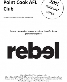 SAVE AT REBEL AND SUPPORT OUR CLUB