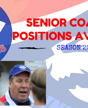 SENIOR COACHING POSITIONS AVAILABLE FOR 2017 SEASON