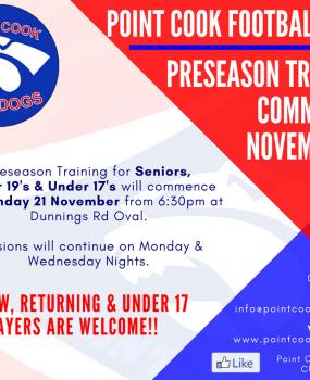 PRESEASON TRAINING COMMENCES NOVEMBER 21